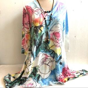 Asymmetrical Floral Lightweight Sweater Tunic